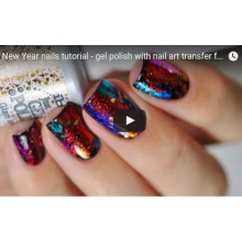 New Year nails tutorial - gel polish with nail art transfer foils